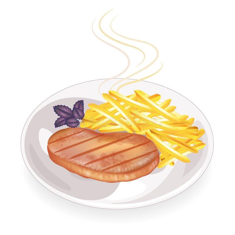 Op een plaat van heet gebraden vleeslapje vlees Versier de gebraden aardappels Heerlijk en voedzaam voedsel voor ontbijt, lunch e royalty-vrije illustratie
