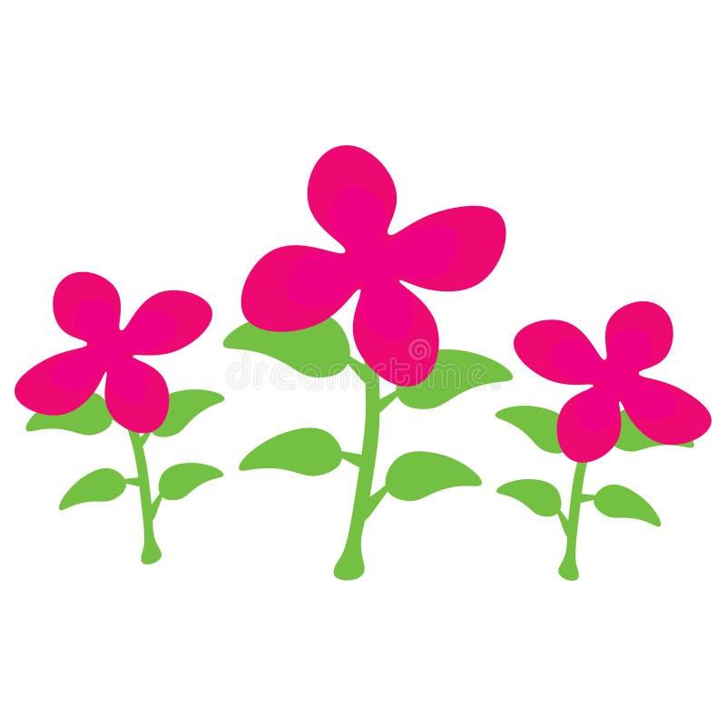 Op een rij geïsoleerde beeldverhaal roze bloemen royalty-vrije illustratie