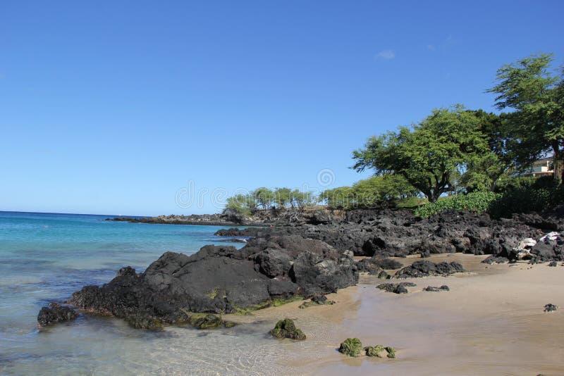 Op een strand Overzees het zand schommelt de aard van Hawaï Zonnige dag stock afbeeldingen