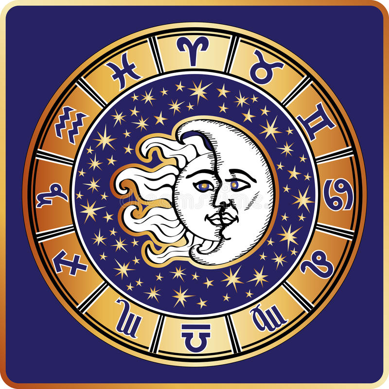 Op een witte achtergrond Al dierenriemteken, maan, zon stock illustratie