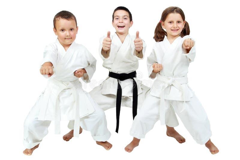 Op een witte achtergrond drukken de kleine kinderen de verrukking van karatelessen uit stock foto's