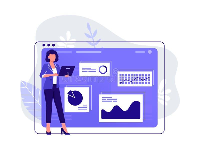 Op groene achtergrond De vrouw werkt bij haar laptop dichtbij grote computermonitor en infographics aan de achtergrond Het werk m royalty-vrije stock foto