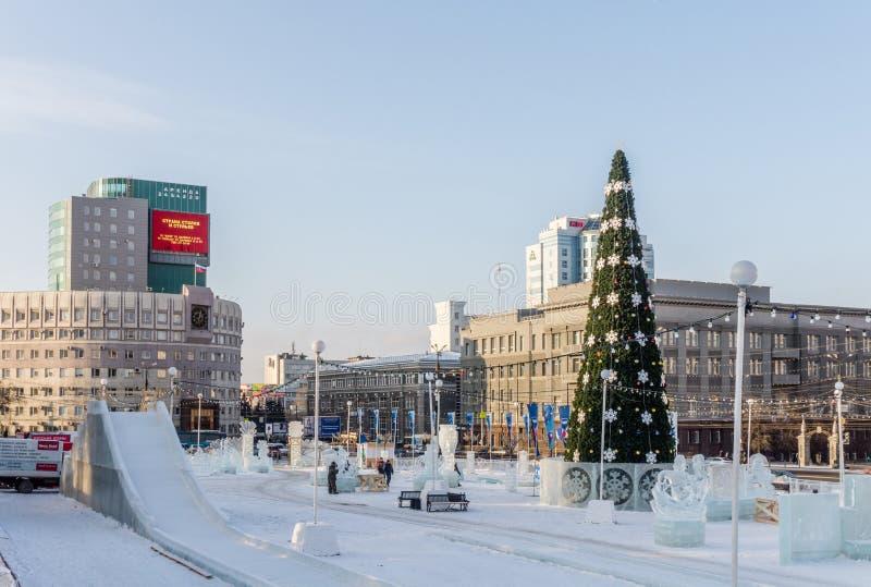 Op het centrum van de Chelyabinsk-stad in de wintertijd stock afbeelding
