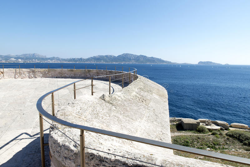 Op het dak van Chateau d'If, Marseille, Frankrijk royalty-vrije stock foto's
