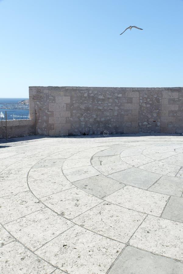 Op het dak van Chateau d'If, Marseille, Frankrijk royalty-vrije stock afbeelding