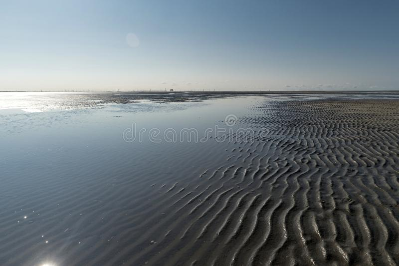 Op het Strand van St peter-Ording stock foto