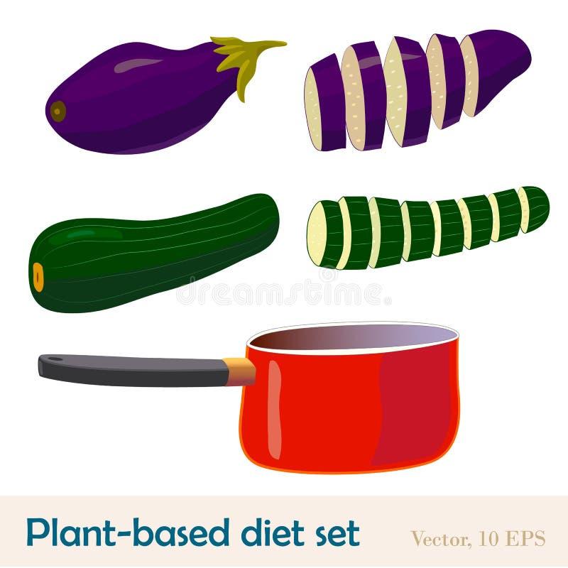 Op installatie-gebaseerd dieetvoedsel en een rode pan Aubergine en courgettegeheel en gesneden Beeldverhaal polair met harten royalty-vrije illustratie