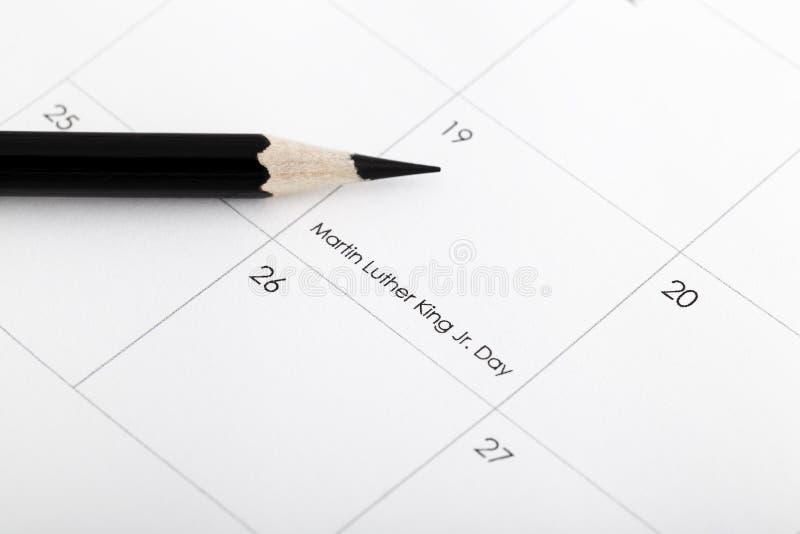 Op 19 Januari in een kalender met een potlood royalty-vrije stock afbeelding