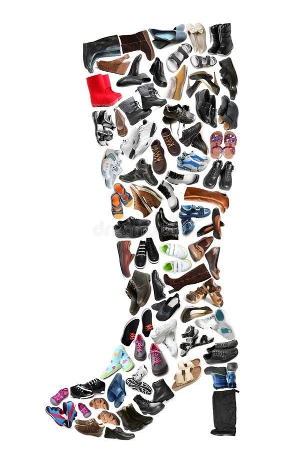 Op känga som göras av olika skor arkivfoton