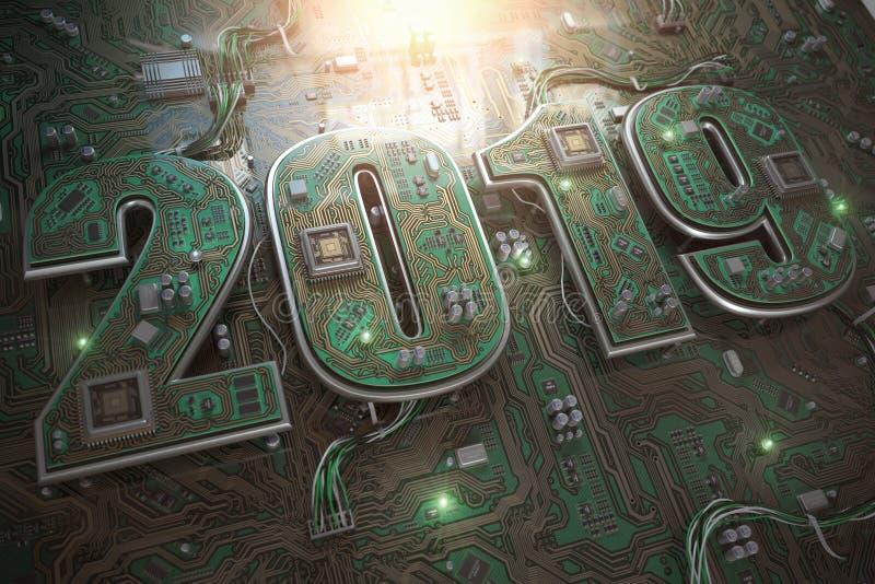 2019 op kringsraad of motherboard met cpu Computertechnolo stock illustratie