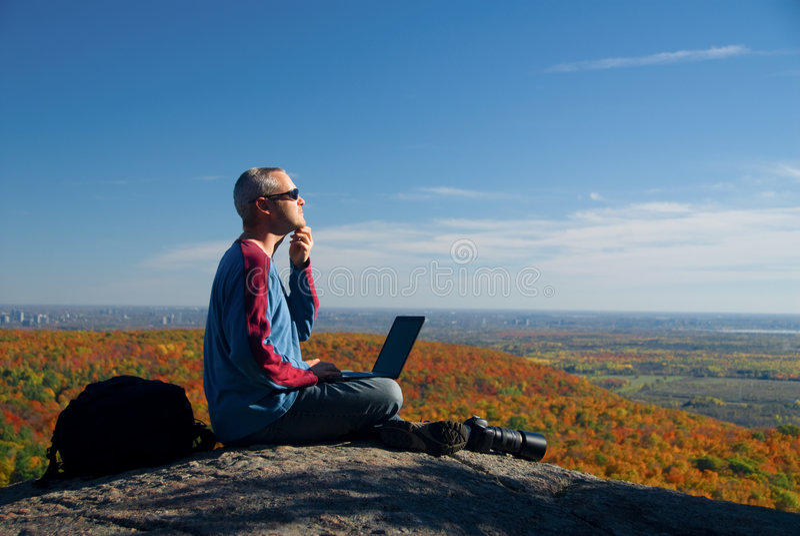 Op laptop royalty-vrije stock fotografie
