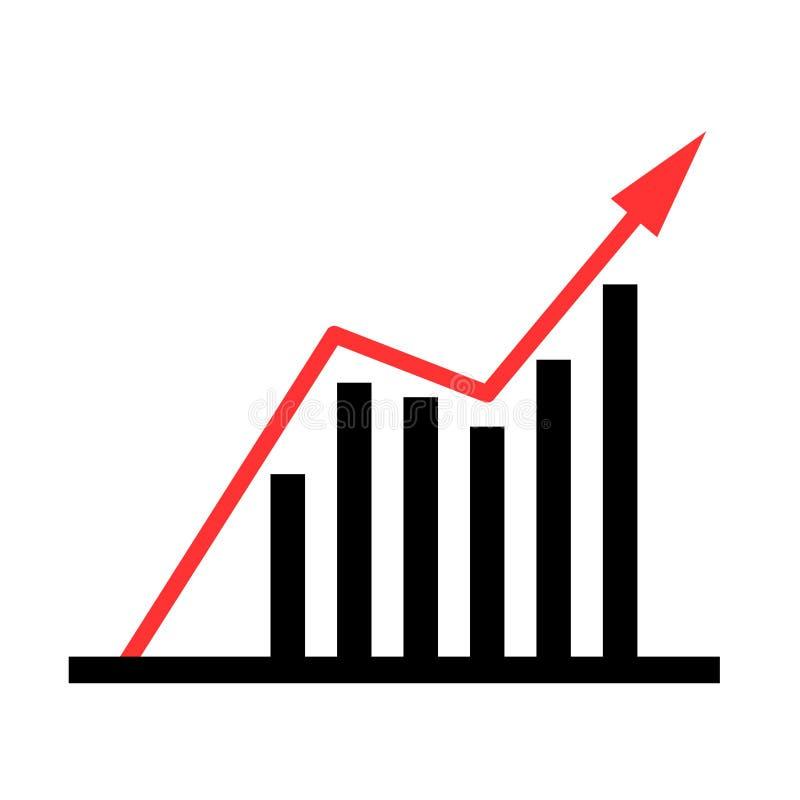 Op neigende bedrijfsgrafiek Geïsoleerd op wit stock illustratie