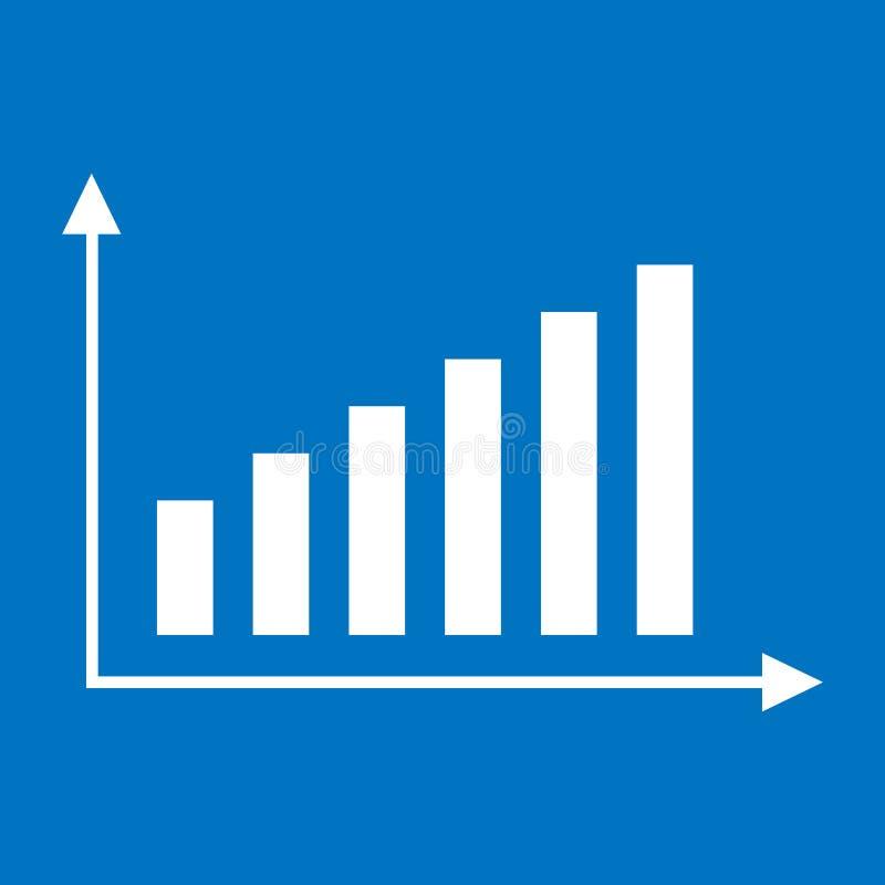 Op neigende grafiek Wit op blauw royalty-vrije illustratie
