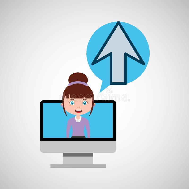 Op online het ontwerpmeisje van het pijlonderwijs vector illustratie