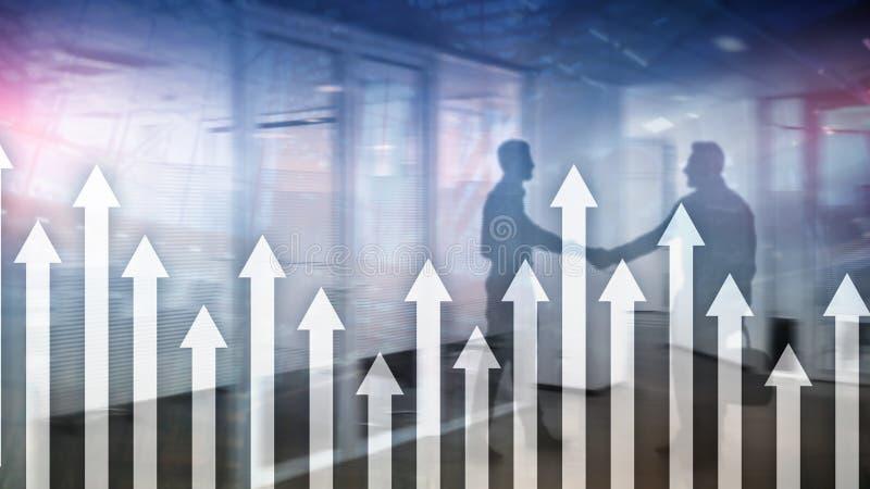 Op pijlgrafiek op wolkenkrabberachtergrond Invesment en financieel de groeiconcept vector illustratie