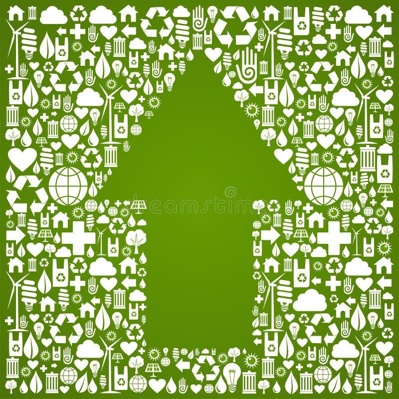 Op pijlsymbool over groene pictogrammenachtergrond royalty-vrije illustratie