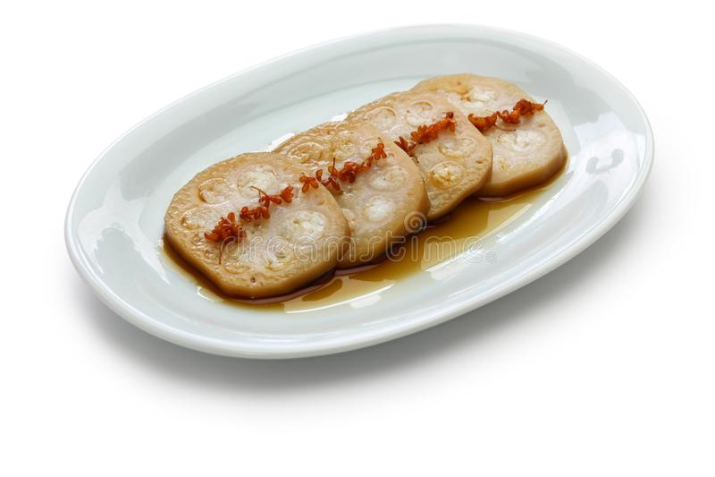 Op smaak gebrachte Osmanthus, gevulde lotusbloemwortel met glutineuze rijst, Chinees voedsel stock afbeeldingen