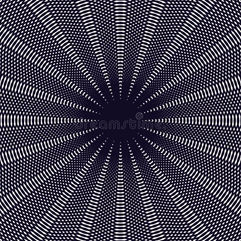Op sztuka, mora wzór Relaksujący hipnotyczny tło z geometr ilustracja wektor