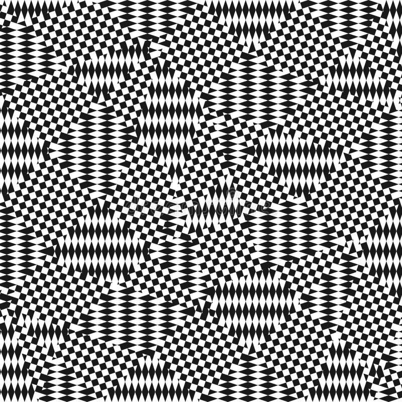 Op sztuki wzór z chaotycznymi lampasami, krzyżuje linie, kwadraty, rhombuses royalty ilustracja
