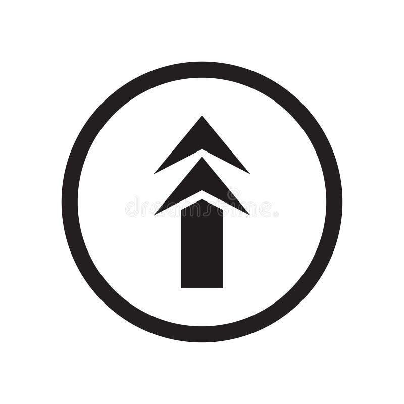 Op Tekenpictogram ondertekent vectordieteken en het symbool op witte achtergrond wordt geïsoleerd, omhoog embleemconcept royalty-vrije illustratie
