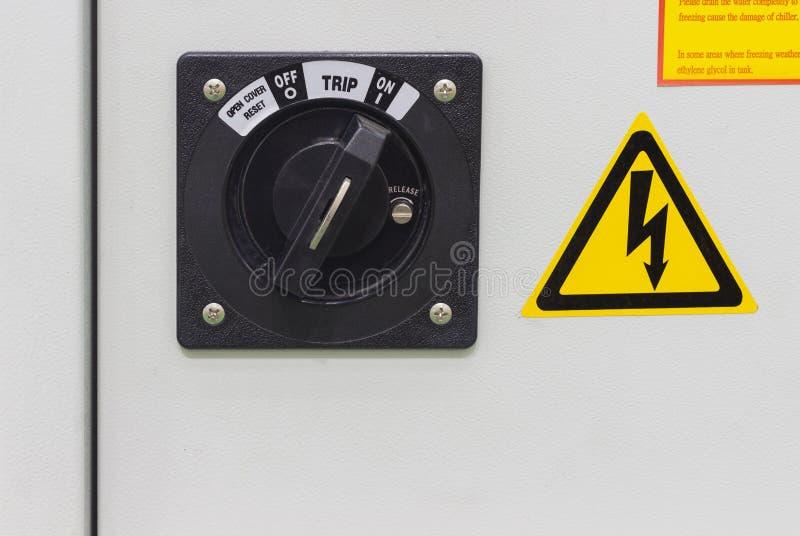 op/van schakelaar voor electical kabinet voor machine stock foto's