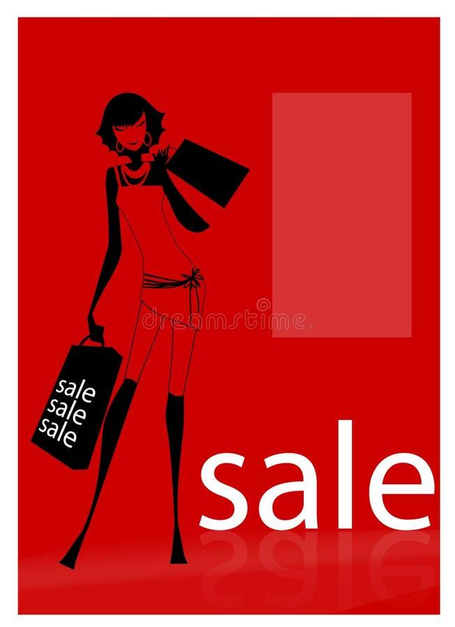 Op verkoop - vrouw in een winkelcentrum vector illustratie