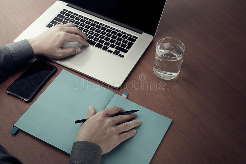 Op view of Double exposure of businessman hand working stock photos