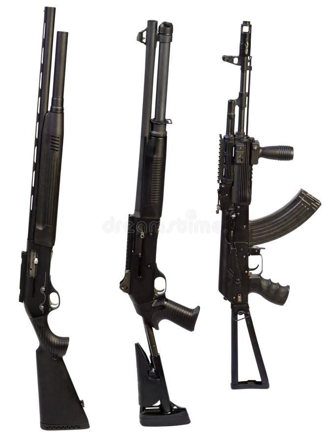 Op wit achtergrond geïsoleerd machinegeweerwapen royalty-vrije stock afbeeldingen
