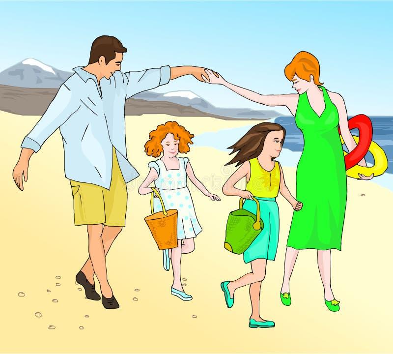 Op zee familievakantie De vader, de moeder en de dochter gaan naar het strand stock illustratie