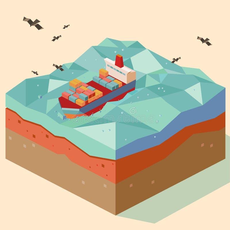 Op zee vastgelegd stock illustratie