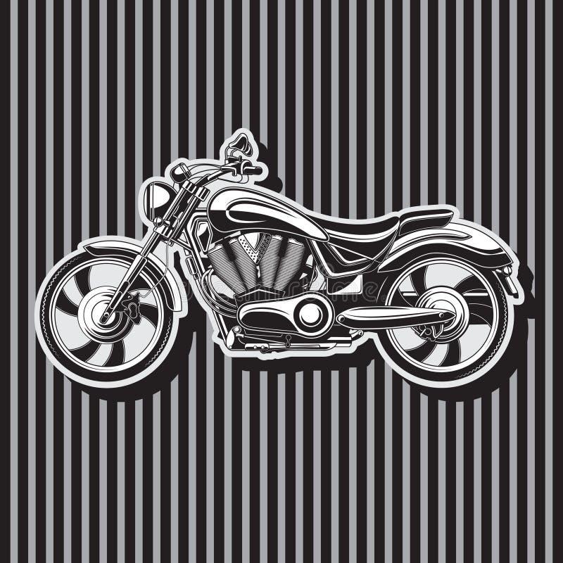 Op zwaar werk berekende fietsermotorfiets, w-Vormige motor, vectorbeeld royalty-vrije illustratie
