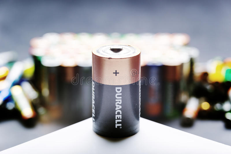 Op zwaar werk berekende het type van D batterij stock fotografie
