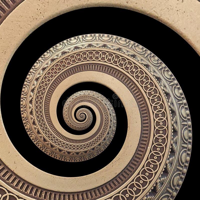 op zwarte het ornament spiraalvormige fractal van het bronskoper geometrische abstracte patroonachtergrond Effect van het metaal  royalty-vrije illustratie
