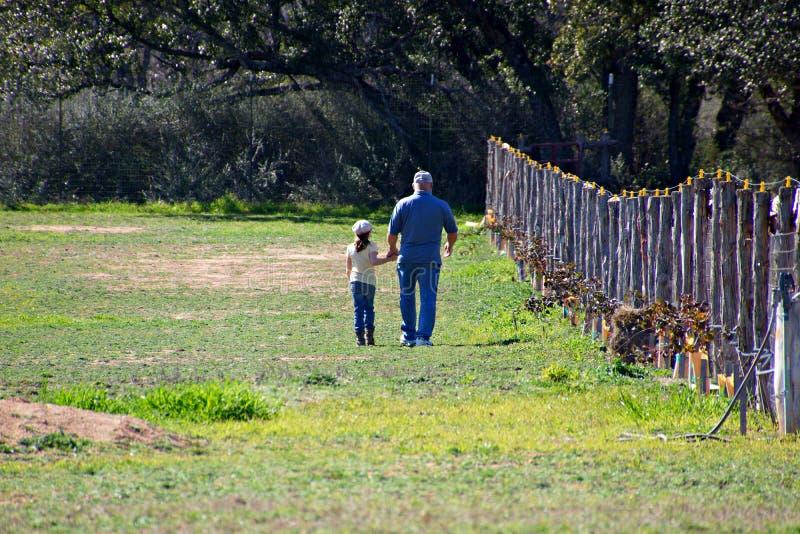 Opa en kleindochter die in het weiland spreken royalty-vrije stock foto's