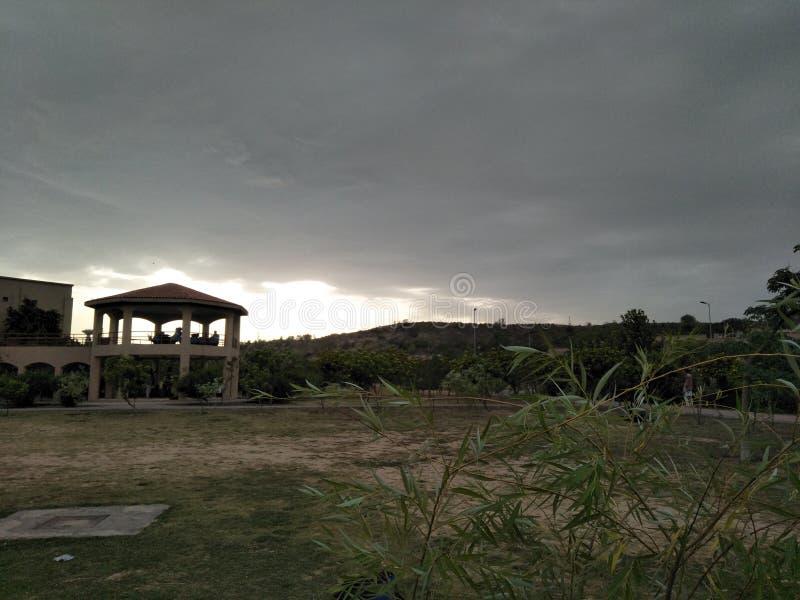 Opacifie le ciel d'herbe d'arbres photo stock