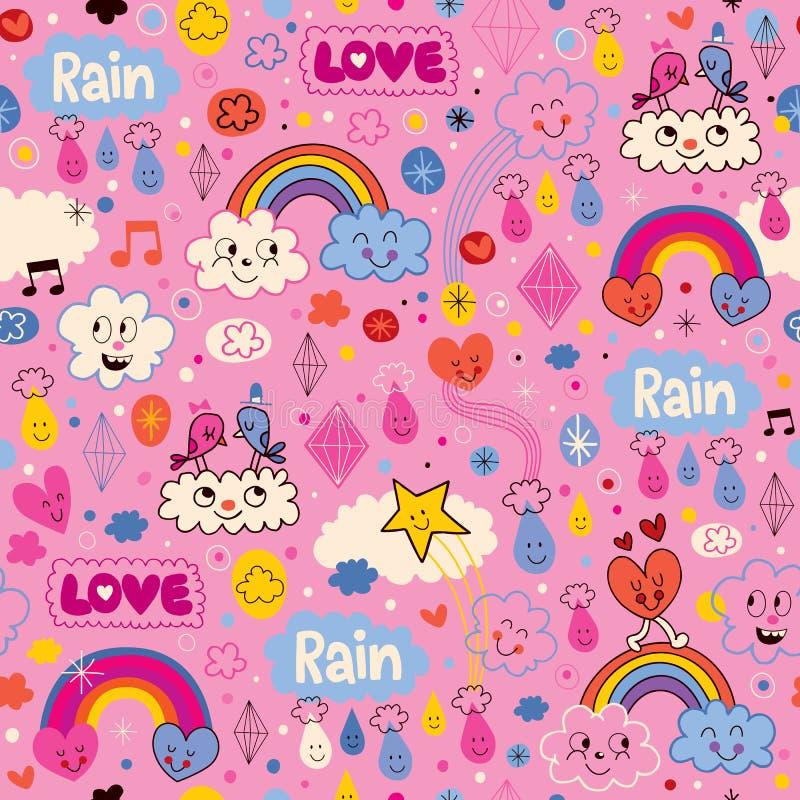 Opacifie le modèle de bande dessinée de coeurs d'amour de pluie d'oiseaux d'arcs-en-ciel illustration stock