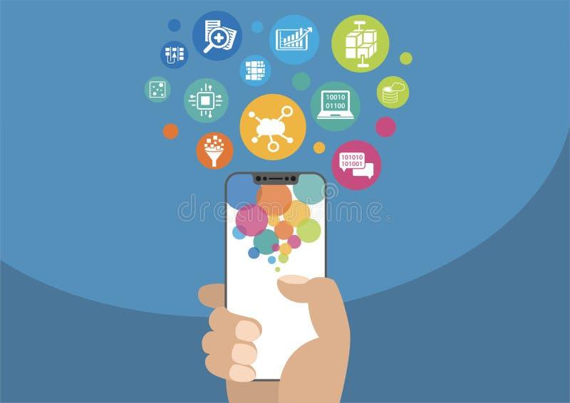Opacifiez le concept de calcul et de mobilité à titre illustratif avec la main tenant le smartphone moderne et icônes encadrement illustration de vecteur