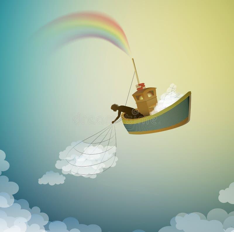 Opacifiez le gardien, créant l'arc-en-ciel attrapant le nuage, le bateau magique dans le pays des merveilles, scène du pays des m illustration libre de droits