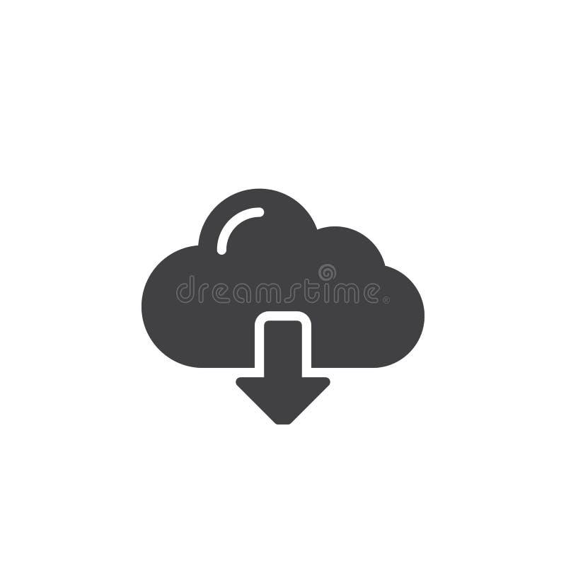 Opacifiez le vecteur d'icône de téléchargement, signe plat rempli, pictogramme solide d'isolement sur le blanc illustration libre de droits