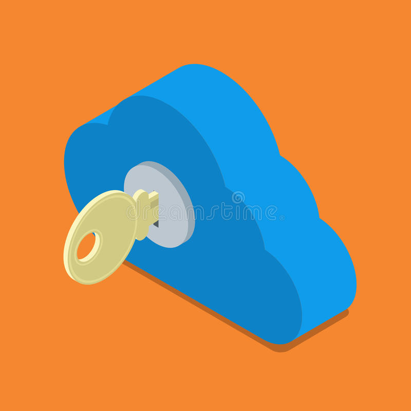 Opacifiez le vecteur isométrique 3d d'authentification de degré de sécurité de serrure de mot de passe illustration de vecteur