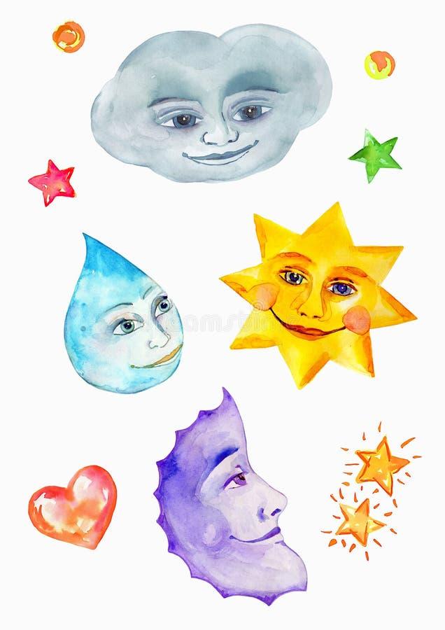 Opacifiez, tenez le premier rôle, goutte de pluie et lune, la peinture d'aquarelle, dessin naïf avec les visages de sourire illustration de vecteur