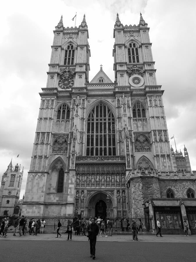 Opactwo Abbey w Londyński czarny i biały zdjęcia royalty free