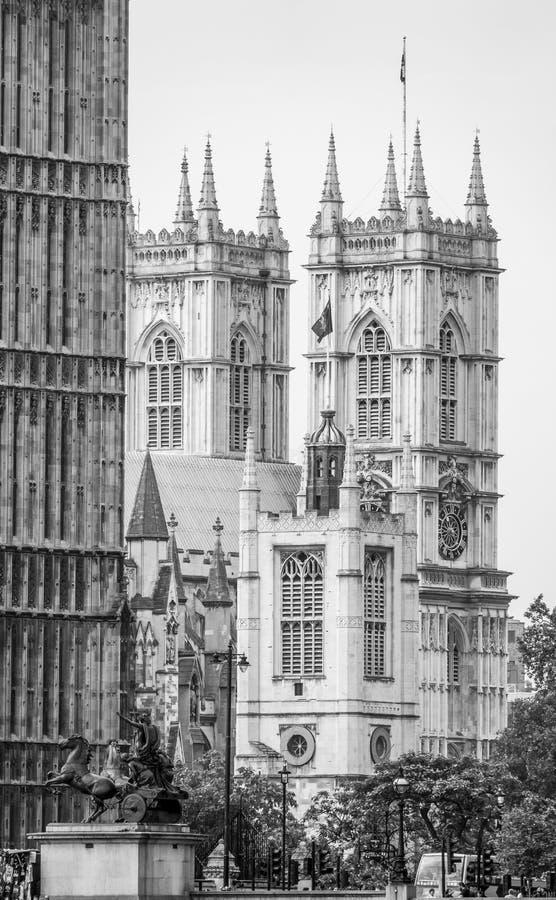 Opactwo Abbey za domami parlament w Londyn obrazy royalty free