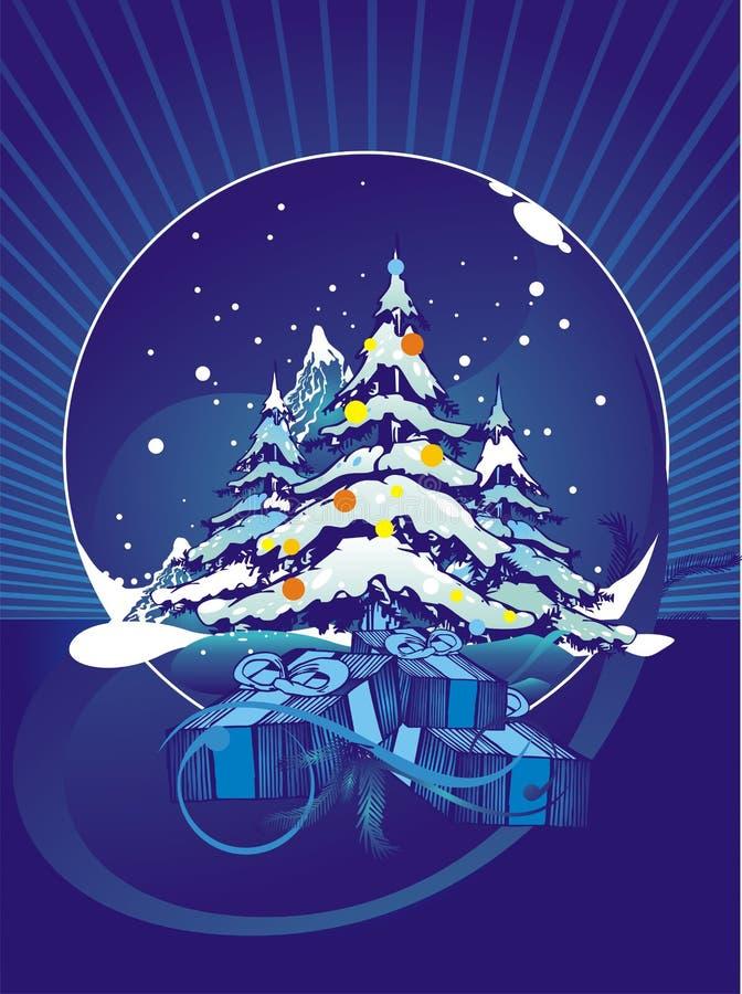 opadów śniegów sosnowi drzewa royalty ilustracja