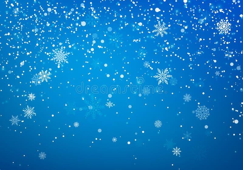 Opadów śniegu bożych narodzeń tło Latający śnieżni płatki i gwiazdy na zimy niebieskiego nieba tle Zimy wite płatek śniegu narzut royalty ilustracja