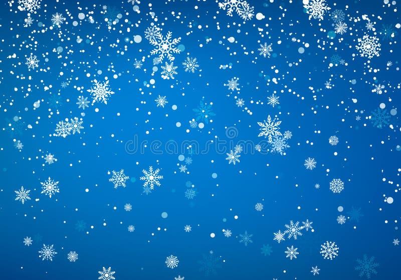 Opadów śniegu bożych narodzeń tło Latający śnieżni płatki i gwiazdy na zimy niebieskiego nieba tle Zimy wite płatek śniegu szablo royalty ilustracja
