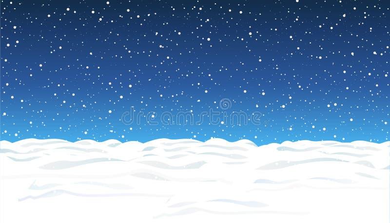 Opad śniegu i mały śnieg z śnieżnymi dryfami Ciężki opad śniegu, płatki śniegu w różnych kształtach i formy, Niebo chmury i śnież royalty ilustracja