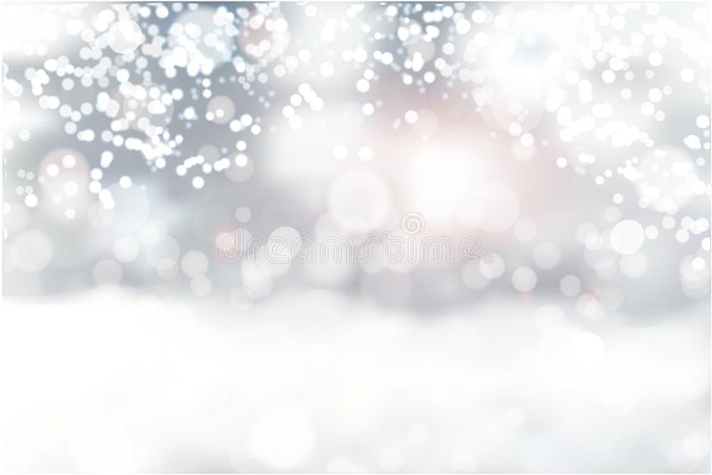 Opad śniegu i mały śnieg z śnieżnymi dryfami Ciężki opad śniegu, płatki śniegu w różnych kształtach i formy, Niebo chmury i śnież ilustracja wektor