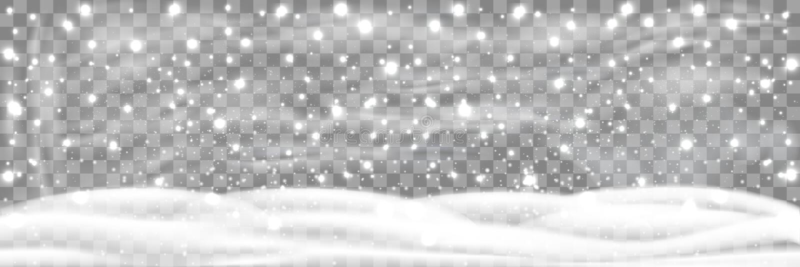 Opad śniegu i mały śnieg z śniegów dryfami odizolowywającymi na przejrzystym tle Ciężki opad śniegu, płatek śniegu w różnych kszt royalty ilustracja