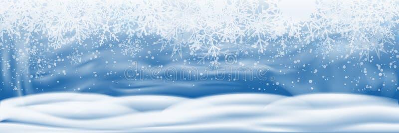 Opad śniegu i mały śnieg z śniegów dryfami odizolowywającymi na przejrzystym tle Niebo chmury i śnieżna zima - wektor ilustracja wektor